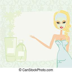 cute, moisturizer, mulher, aplicando