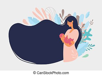 Cute mom with a newborn. The concept of motherhood, family. Flat design with copy space. Happy woman hugs toddler, long hair on a background of blue leaves. Vector illustration on a white background.