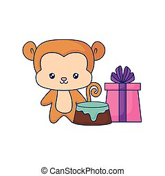 cute monkey animal baby with birthday gift