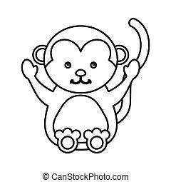 cute monkey animal isolated icon