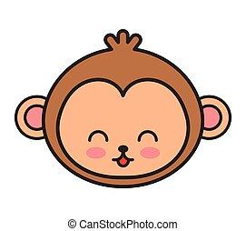 cute monkey animal tender isolated icon