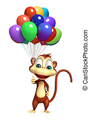 cute Monkey cartoon character with baloon