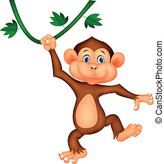 Cute monkey cartoon hanging - Vector illustration of Cute...