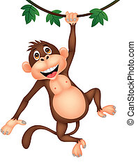 Cute monkey cartoon hanging - Vector illustration of cute...