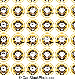 Cute monkey cartoon icon for chinese zodiac vector pattern