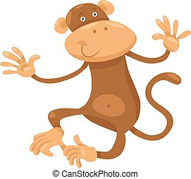 cute monkey cartoon illustration