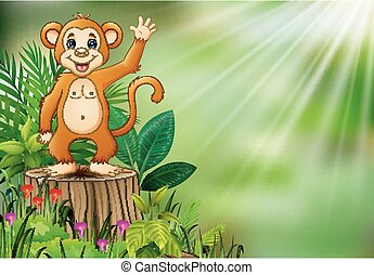 Cute monkey cartoon waving and standing on tree stump with green plants