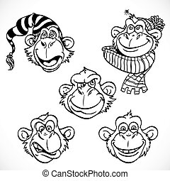 Cute monkey characters line art isolated on a white background
