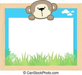 cute monkey frame