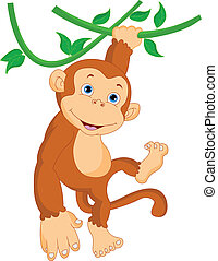 cute monkey hanging cartoon illustration
