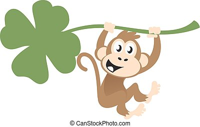 Cute monkey hanging on a clover
