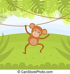 Cute Monkey Hanging on a Vine in Tropical Forest Vector illustration