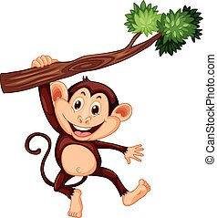 Cute monkey hanging on the branch illustration