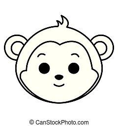 cute monkey head character