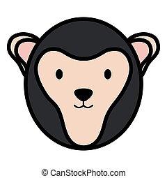 cute monkey head childish character
