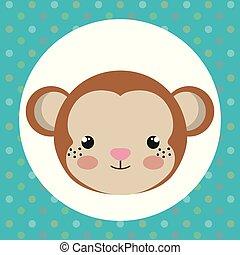 cute monkey head tender character