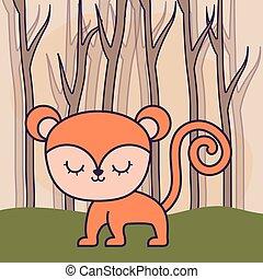 cute monkey in forest scene