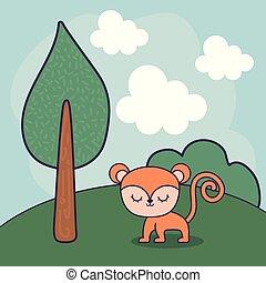 cute monkey in landscape scene