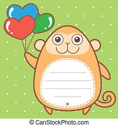 cute monkey of scrapbook background.