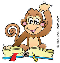 Cute monkey reading book - vector illustration.