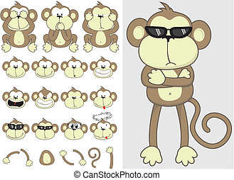 cute monkey set - monkey faces and body parts set, include ...