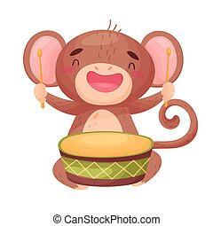 Cute monkey with a drum. Vector illustration on white background.
