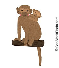 Cute monkey with baby isolated on white.