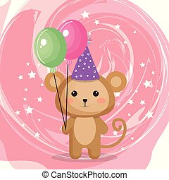 cute monkey with balloons air party kawaii