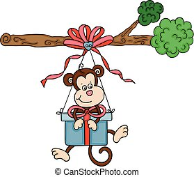 Cute monkey with gift box suspended on branch
