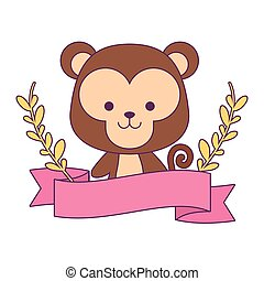 cute monkey with ribbon and branches of leafs