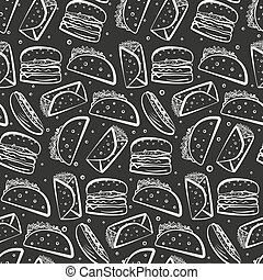 Cute monochrome white outline fast food pattern