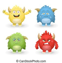 Cute monster emotions set