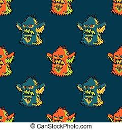 Cute monster seamless pattern
