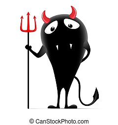 cute monster with a pitchfork