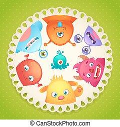 Cute monsters design