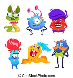 Cute monsters. Happy cartoon mutant and goblin toys. Halloween aliens vector monster set