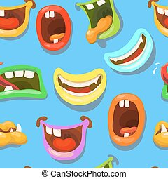 Cute monsters mouths vector seamless pattern.