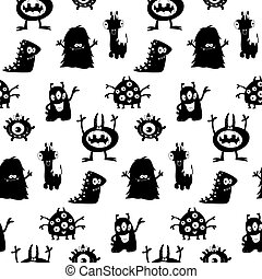 Cute monsters silhouettes pattern