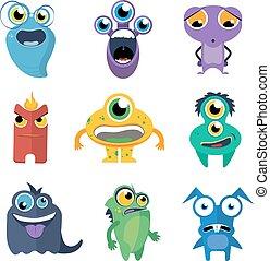 Cute monsters vector set in cartoon style
