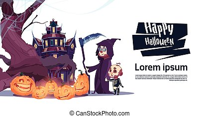 Cute Monsters Walking To Castle With Ghosts Happy Halloween Banner Party Celebration Concept