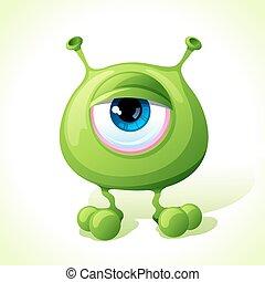 cute, monstro, isolado, experiência., vetorial, verde branco