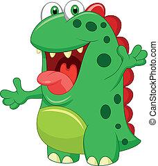 cute, monstro verde, caricatura