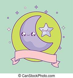 cute moon and star in frame circular with ribbon kawaii style