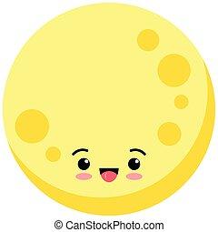 Cute moon emoji icon isolated on white background.