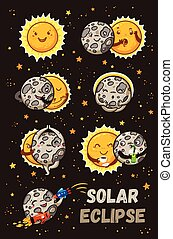 Cute moon practice of yoga. Solar eclipse in phases