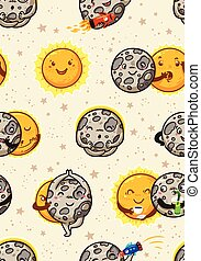 Cute moon practice of yoga. Solar eclipse seamless pattern