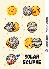 Cute moon practice of yoga. Solar eclipse in phases - Solar...