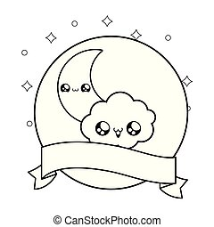 cute moon with cloud and ribbon decoration kawaii style