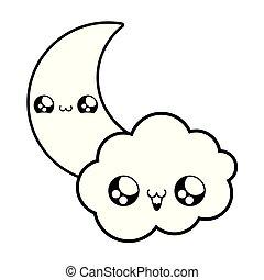 cute moon with cloud kawaii style