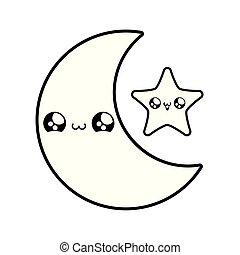 cute moon with star kawaii style